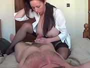 Buxom wife handjob and riding cowgirl