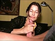 Jaw-dropping brunette milf jerks spunk-pump to climax