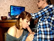 Stunning dark haired continues with a new blowjob session part ii